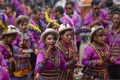 Folk dancers at the Oruro Carnival in Bolivia Royalty Free Stock Images