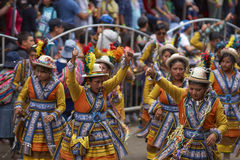 Folk dancers at the Oruro Carnival in Bolivia Stock Images