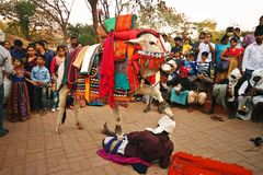 Folk dancers play street act on Sankranti festival Royalty Free Stock Images