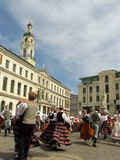 Folk dancers in the Riga stock photo