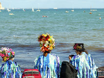 Folk dancers at Swanage festival. Folk dancers taking a break to admire the view at the Swanage Folk Festival, Isle of Purbeck, Dorset, England, UK Royalty Free Stock Photos