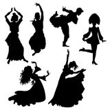 Folk dances. Silhouette of people dancing folk dances royalty free illustration