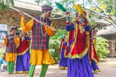Folk Dances of Uttarakhand along with Folk music band including dance forms like Chancheri,Chhapeli Dance. ECR,Chennai.25 Feb 2017. Folk Dances of Uttarakhand royalty free stock photo