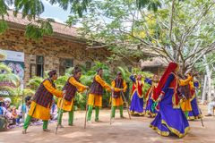 Folk Dances of Uttarakhand along with Folk music band including dance forms like Chancheri,Chhapeli Dance. ECR,Chennai.25 Feb 2017. Folk Dances of Uttarakhand stock photography