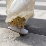 Folk dancing close-up of a foot, folklore costume royalty free stock photos