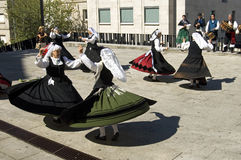 Folk dancing women, city Vigo, Spain Royalty Free Stock Photo
