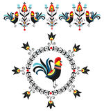 Folk decorations of roosters Stock Photography