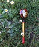 Folk Design Russian Khokhloma spoon. Russian Khokhloma Wooden spoon on grass background Stock Images