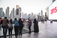Folk Dubai i stadens centrum 2015 Royaltyfria Foton