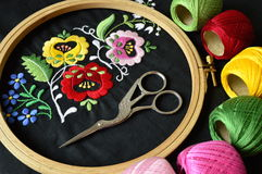 The folk embroidery in cirkle. The detail embroidery in embroidery frame Royalty Free Stock Photos