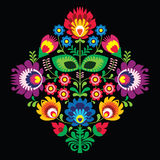 Folk embroidery with flowers - traditional polish pattern on black background Stock Images