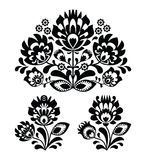 Folk embroidery with flowers - traditional polish pattern in monochrome Stock Photo