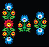 Folk embroidery with flowers - traditional Polish pattern Wzory Lowickie Stock Images