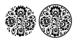Folk embroidery with flowers - traditional polish round pattern in monochrome Royalty Free Stock Photography