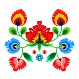 Folk embroidery ornament with flowers. Traditional authentic polish pattern decoration - wycinanka, Wzory Lowickie Stock Photo