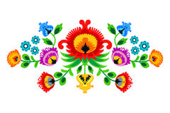 Folk embroidery ornament with flowers. Traditional authentic polish pattern decoration - wycinanka, Wzory Lowickie Stock Photography