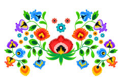 Folk embroidery ornament with flowers. Traditional authentic polish pattern decoration - wycinanka, Wzory Lowickie Royalty Free Stock Photo