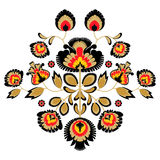 Folk embroidery ornament with flowers. Traditional polish pattern decoration - wycinanka, Wzory Lowickie Royalty Free Stock Photography