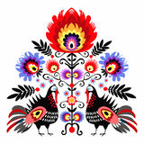 Folk Embroidery With Turkeys Royalty Free Stock Photography