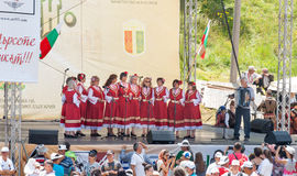 Folk ensemble performance at the Festival of Rozhen 2015 in Bulgaria Stock Photos