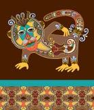 Folk ethnic animal - monkey with seamless geometry Royalty Free Stock Photo