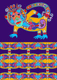 Folk ethnic animal - monkey with seamless geometry Stock Images