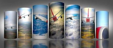 Folk för affär för trans. för soluppgång för blått för natur för bakgrund för illustration för himmel för cylinder för flygplanmo Royaltyfri Foto