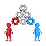 Folk för begrepp 3d och förbindelsekugghjul över huvud Royaltyfri Foto