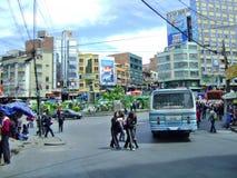 Folk för Bolivia Lapaz stad Arkivbilder