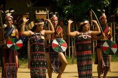 Folk för etnisk minoritet som dansar under buffelfestival Fotografering för Bildbyråer