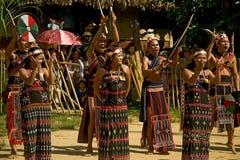 Folk för etnisk minoritet som dansar under buffelfestival Royaltyfria Foton