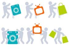 folk för färgsymbolsobjekt stock illustrationer