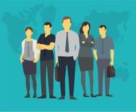 Folk för grupp för företagslagaffär av kontorskontorister Med hans ledare framstickande Arkivbild