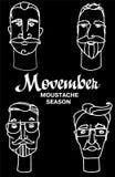 Folk för Hipsterfrisersalongtecknad film med skäggmustascher och olika stilfulla frisyrer Movember stock illustrationer