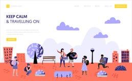 Folk för mall för turism- och lopplandningsida royaltyfri illustrationer