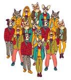 Folk för stående grupp med katter och hundkapplöpninghuvud Royaltyfria Foton