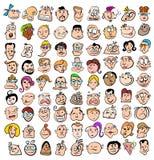 folk för tecknad filmuttrycksframsida Royaltyfri Fotografi