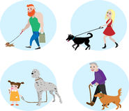 Folk för vektor för hundägareuppsättning Royaltyfri Bild