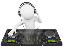folk för white 3D. DJ med en blandare Royaltyfri Bild