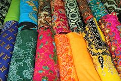 Folk fabrics from the central region of Thailand has beautiful. Folk handmade fabrics from the central region of Thailand has beautiful colors and patterns sold stock images