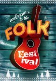 Folk festival poster with acoustic guitar shape on wood background. Vector illustration. Eps 10. Stock Images
