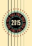 Folk festival poster with guitar rosette. Vector illustration. Stock Image