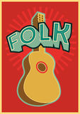 Folk festival poster with guitar. Vector illustration. Royalty Free Stock Images