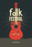 Folk festival poster. Retro typographical grunge vector illustration. Stock Photos