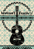 Folk festival poster. Retro typographical grunge vector illustration. Royalty Free Stock Photography