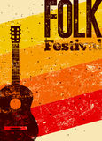 Folk festival poster. Retro typographical grunge vector illustration. Stock Image