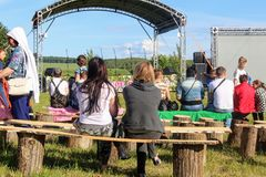 Folk festival `The Songs of Bezhin Meadow`. Folk festival `The Songs of Bezhin Meadow` which held every year in June in Russia in the birthplace of well-known Stock Photos