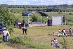 Folk festival `The Songs of Bezhin Meadow`. Folk festival `The Songs of Bezhin Meadow` which held every year in June in Russia in the birthplace of well-known Stock Image