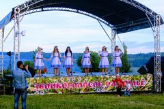 Folk festival `The Songs of Bezhin Meadow`. Folk festival `The Songs of Bezhin Meadow` which held every year in June in Russia in the birthplace of well-known Royalty Free Stock Photo