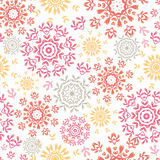 Folk floral circles abstract seamless pattern Royalty Free Stock Image
